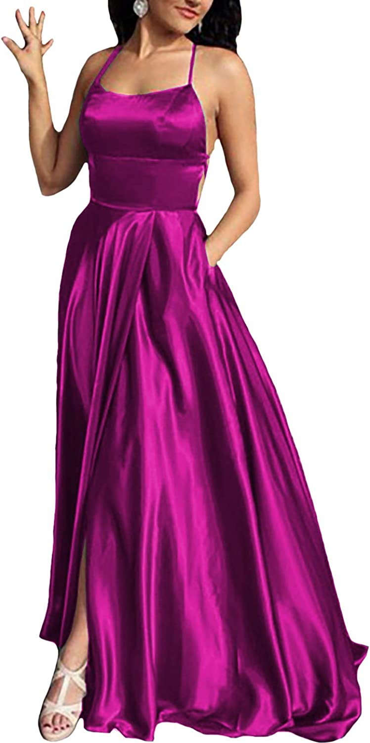 IVYPRECIOUS Women's Sexy Backless Prom Dresses A Line High Split Formal Evening Gowns Satin