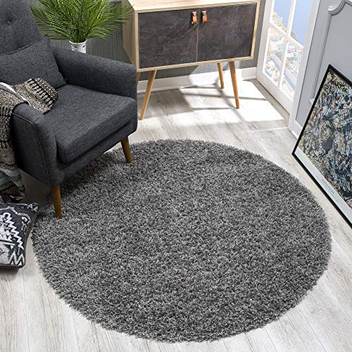 SANAT Teppich Rund - Grau Hochflor, Langflor Modern Teppiche fürs Wohnzimmer, Schlafzimmer, Esszimmer oder Kinderzimmer, Größe: 200x200 cm