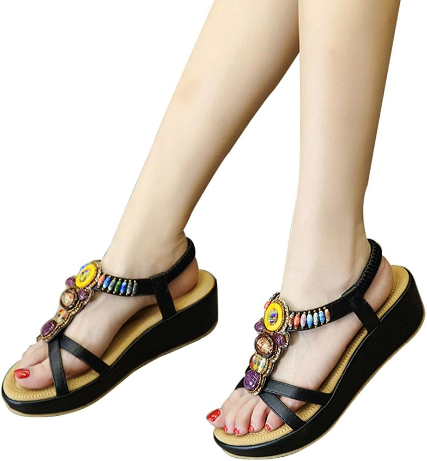 Fheaven (TM) Women Summer Sandals Bohemia colorful Beads shoes Wedges Middle Platfrom Heel Sandals