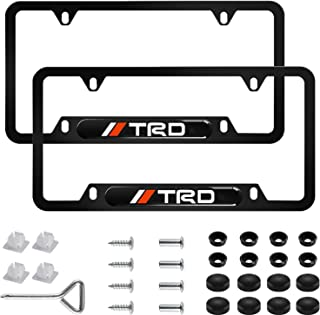 Sparkle-um 2Pcs Newest Custom Personalized 4 Hole Matte Aluminum Alloy TRD Logo License Plate Framewith Screw Caps Cover Set,Applicable to US Standard car License Frame, for Toyota TRD(Matte Black)