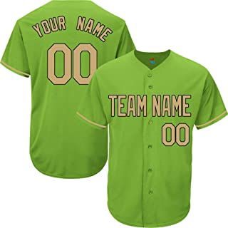 Light Green Custom Baseball Jersey for Men Women Youth Replica Embroidered Team Name & Numbers S-5XL Gold Black