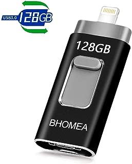 【最新改良版】iPhone USBメモリ128GB BHOMEA フラッシュドライブ OTGメモリー スライド式 高速データ転送 3in1 iPhone lighting/USB3.0/iOS/Android/ PC パソコン対応 容量不足解消 パスワード保護 一本三役 日本語取扱説明書付き
