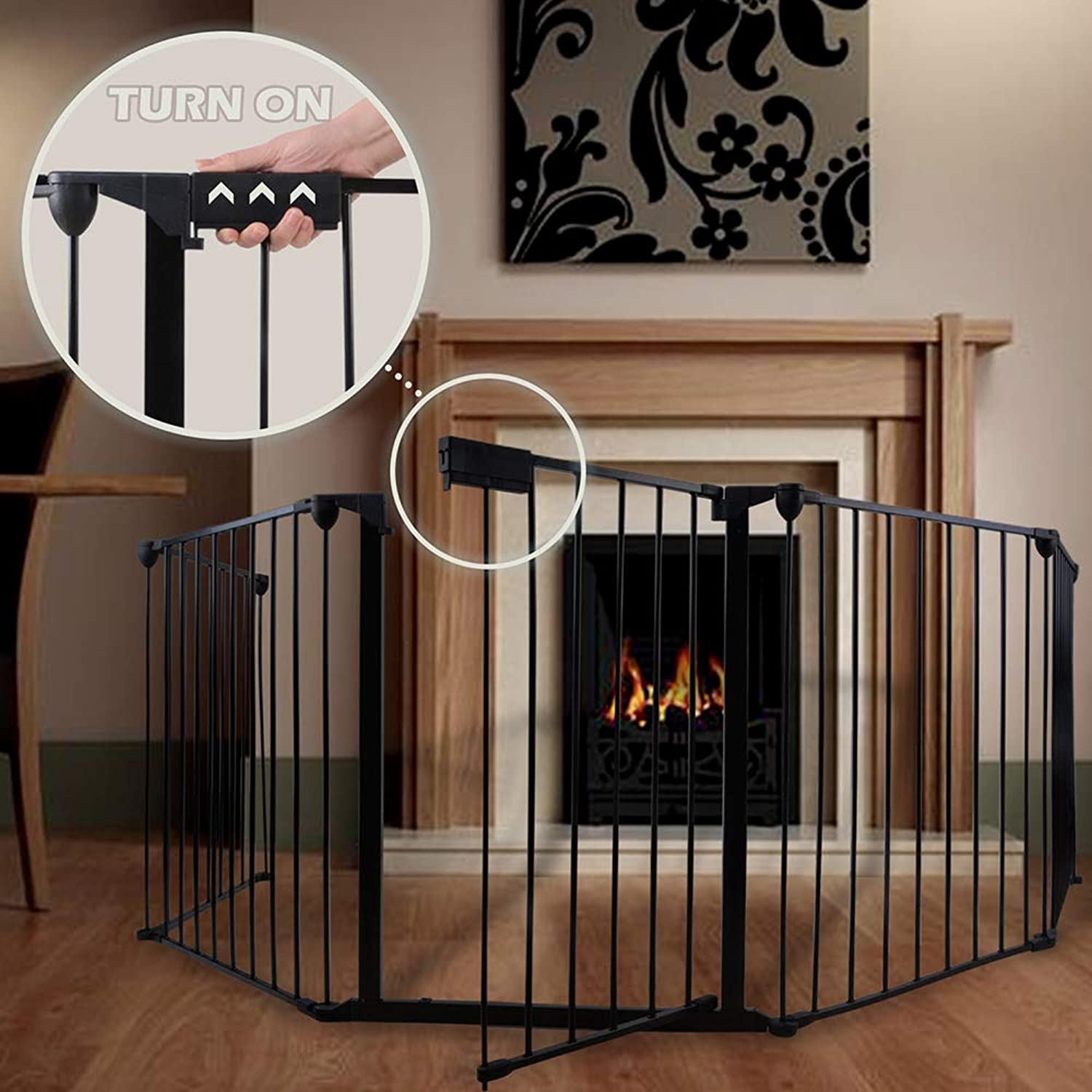 "GOGODUCKS Fireplace Fence Baby Safety Fence Hearth Gate MultiFunctional Metal Fence with Door Includes 5 Panels 30"" High Black"