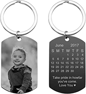 PiercingJ Personalized Custom Photo Picture Calendar Text Engraved Stainless Steel Dog Tags Keychain Message Customized Pendant Valentine`s Mother`s Father`s Day Birthday Gift