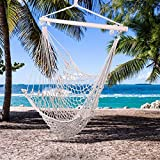 GOTOTOP Portable Hammock Chair Hanging Cotton Rope Swing Chair Soft Free Swing Air Sky Chair for Indoor Outdoor Bedroom Porch Patio Yard Garden Beige