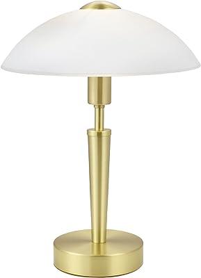 EGLO Table Lamp Solo 1, 1 Bulb Table Light, Material: Steel, Colour: Brass Matt, Glass: Satin White, Socket: E14, incl. Touch Dimmer