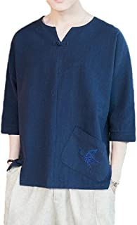 Energy Men's Plus Size Linen Chinese Style Embroidered Tees Pullover Top
