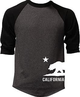 California Republic Bear On Side (V124) Men's Baseball T-Shirt Black/Charcoal
