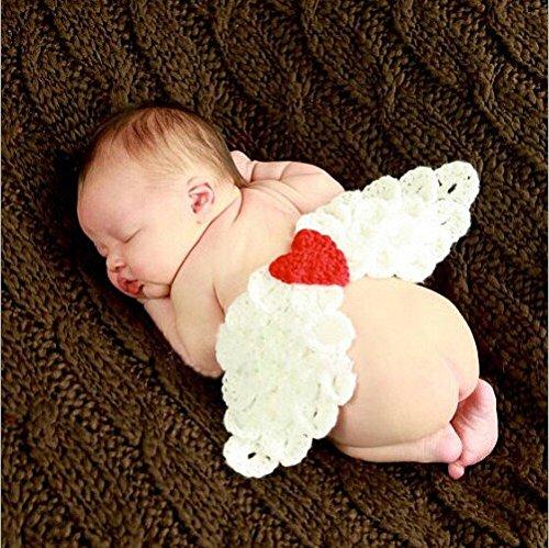 Baby-kostuum voor pasgeborenen, voor meisjes/jongens, gehaakt, brei, foto-rekwisiet (engelenvleugels)