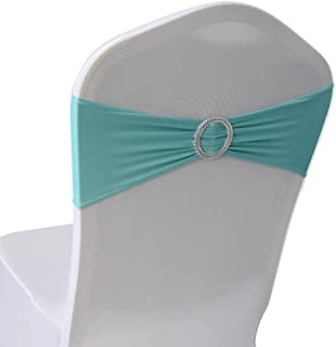 Tiffany Blue Spandex Chair Bands Sashes - 50 pcs Wedding Banquet Party Event Decoration Chair Bows Ties (Tiffany Blue, 50)