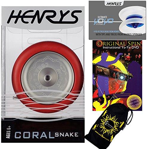 Henrys CORAL SNAKE YoYo (Rouge) Looping Trick (2A) Professionnelle Métal Roulement à Bille Yo Yo Avec Système AXYS + livre d'instruction de trucs + Original Spin Yo-Yo Tricks DVD (en anglais) + sac de voyage! Niveau: Intermédiaire / Avancé