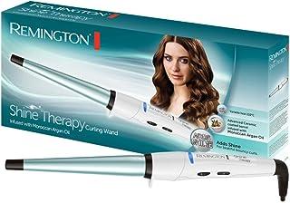 Remington Shine Therapy CI53W -Rizador de Pelo, Barril de Cerámica Avanzada con Aceite de Argán (13-25 mm), Blanco y Azul