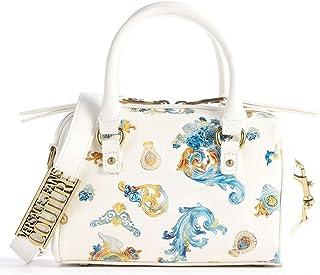 Versace Jeans Couture Kleine Tasche E1VWABM5 aus Kunstleder Farbe Weiß Druck Barock Hellblau und Gelb