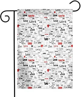 Mannwarehouse Love Garden Flag Calligraphy Designs Texts I Love You Valentines with Abstract Hearts and Stars Premium Material W12 x L18 Grey Black Red