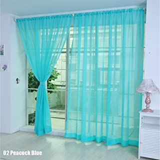 HitTime Bright Candy Color Floral Voile Curtain Door Window Curtain Panel Sheer Valances Scarf Peacock Blue