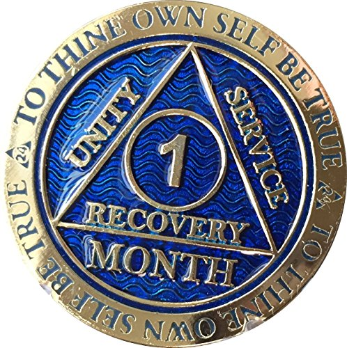1 Month AA Medallion Reflex Blue Gold Plated 30 Day Chip