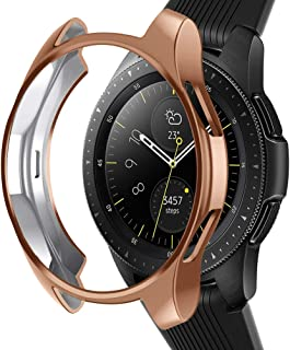 Case Compatible Samsung Galaxy Watch 42mm, NaHai Slim Plated TPU Case Scratch-Proof Cover Shatter-Resistant All-Around Protective Bumper Shell for Galaxy Watch 42mm SM-R810 Smartwatch,Rose Gold