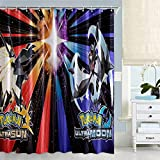 Pokemon Fabric Decorative Shower Curtain Set with 12 Plastic Hooks for Boys Bathroom Decor, 72 x 72 inches