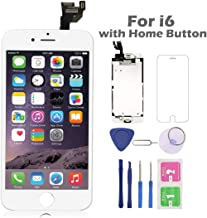 Full Assembly for iPhone 6 Screen Replacement with Home Button 4.7 Inch LCD Display Digitizer Touch Screen with Repair Tool Kit White A1549 A1586 A1589