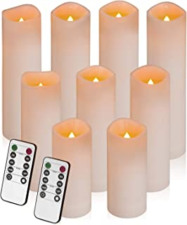 """Flameless Candles, Led Candles Set of 9 Battery Operated Candles (Height 5""""6""""7"""" x Diameter 2.15"""") Waterproof Outdoor Indoor Candles with 10-Key Remote and Cycling 24 Hours Timer Plastic"""