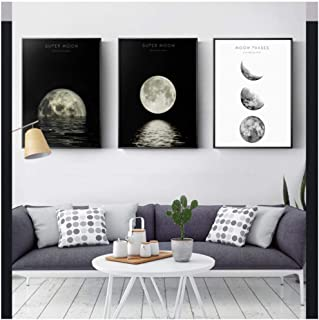 Cjyrjcc The Planet Canvas Painting Poster And Print Black White Wall Picture For Living Room Home Decor Moon Reflection Hd...
