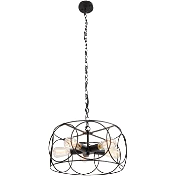 UNITARY Brand Black Vintage Barn Metal Shade Hanging Ceiling Chandelier Max. 300w with 5 Lights Painted Finish