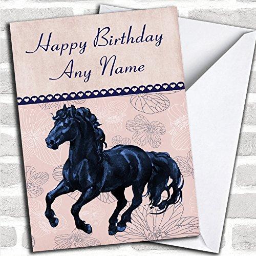 Perzik & Blauw Bloemen Friese Paard Verjaardagskaart Met Envelop, Kan Volledig Gepersonaliseerd, Verzonden Snel & Gratis