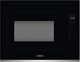 Zanussi ZMBN4SX Microondas Integrable 900W, Control táctil, Display LED, Plato giratorio XL, Seguridad niños, Auto + 30 segundos, Inicio rápido, Apertura electrónica, Marco Integrado, Negro/Inox, 26L