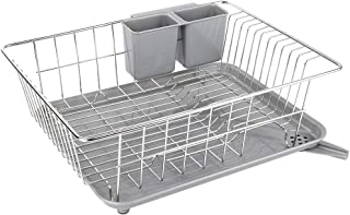 WHITGO Dish Drying Rack with Drain Board, Stainless Steel Dish Drainer Drying Rack with Utensil Holder for Kitchen Counter, Dish drain rack with One Cleaning Cloth