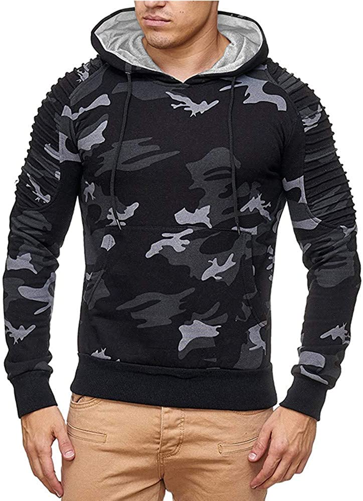 Mens Camo Pullover Hooded Sweatshirt Mens Casual Long Sleeve Camouflage Pleated Raglan Sports Outwear Hooded Sweatshirts
