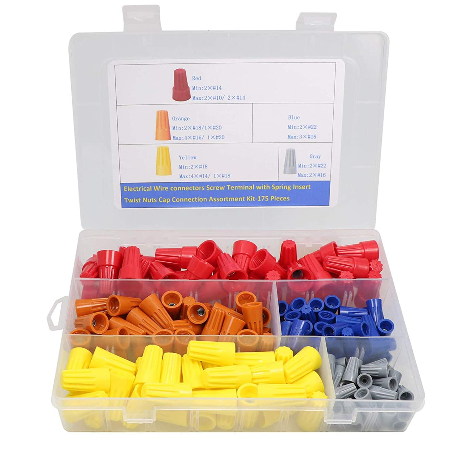 175PCS Electrical Wire Connectors Screw Terminals,with Spring Insert Twist Nuts Caps Connection Assortment Set – Gray, Blue, Yellow and Red Connectors with Storage Case