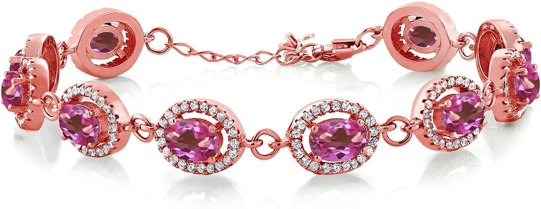 12.38 Ct Oval Pink Mystic Topaz 18K pink gold Plated Silver Bracelet