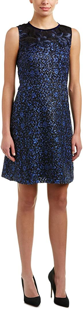 T Tahari Dress Blue Black Floral Fuzzy Fringe and Lace Size 4