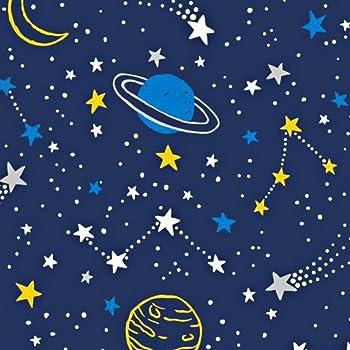 Pingianer - Tela de algodón con lunas para niños, 100 % algodón, por metros, artesanía, tela de costura, algodón, Planetas azules amarillos., 100x160cm (11,99€/m): Amazon.es: Bebé