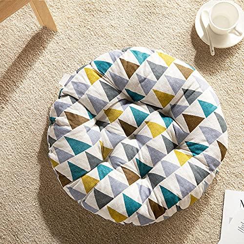 ANGANGAN Meditación Cojín Forma redonda 50X50cm Color triángulo Meditación Mat algodón lino cómodo salón jardín terraza estera