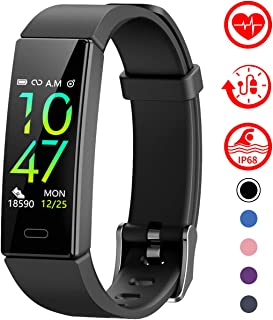 Fitness Tracker with Blood Pressure Heart Rate Sleep Monitor,10 Sport Modes IP68 Waterproof Activity Tracker Fit Smart Watch with Pedometer Calorie Step Counter for Women Men Kids