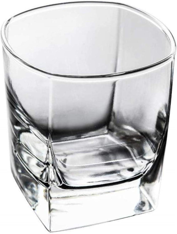 diamanstar Tazas de Vidrio Doble- 6pcs Vaso de Whisky Vaso de Agua Cuadrado Transparente 280ml Taza Resistente al Calor Taza de Jugo