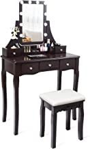 CHARMAID Vanity Set with Lighted Mirror, 10 Dimmable Light Bulbs Vanity Dressing Table, 5 Drawer with 2 Dividers Removable Organizer, Makeup Table and Cushioned Stool Set with 10 LED Bulbs (Coffee)