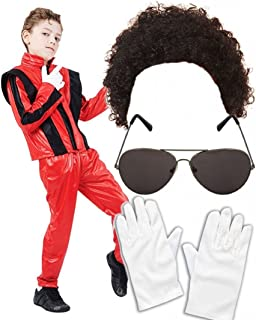 Boys Michael Jackson 80S Fancy Dress Costume With Wig Glasses Gloves Age 4-6