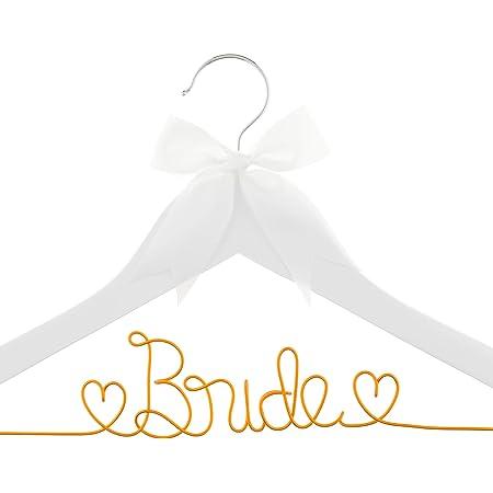 Wedding Dress Hangers Bride Bridesmaid Diamante Pearl Gift White Wooden