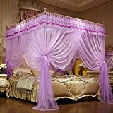JQWUPUP Luxury Bed Curtains Canopy, Ruffle Tassel 4 Corner Post Mosquito Net, Bed Canopy for Girls Kids Toddlers Crib Adult, Bedding Décor (Queen, Purple)