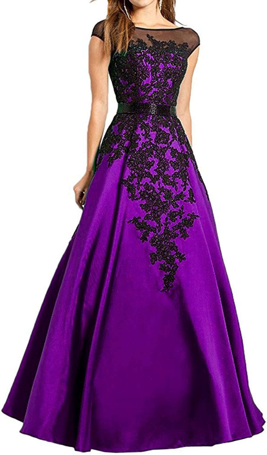 JQLD High Neck Lace Applique Mother of The Bride Dresses Sexy Backless Formal Evening Gown with Sash