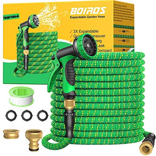 BOIROS Tuyau d'arrosage Extensible 30m, 10 Fonctions Tuyaux d'arrosage Rétractable avec Adaptateurs 1/2' et 3/4' pour Irrigation et Jardin 100FT