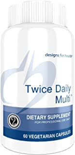 Designs for Health Twice Daily Multi - Iron-Free Multivitamin with Active Folate + Chelated Minerals (60 Capsules)