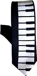 RETRO PIANO KEYS SKINNY TIE, Black, One size