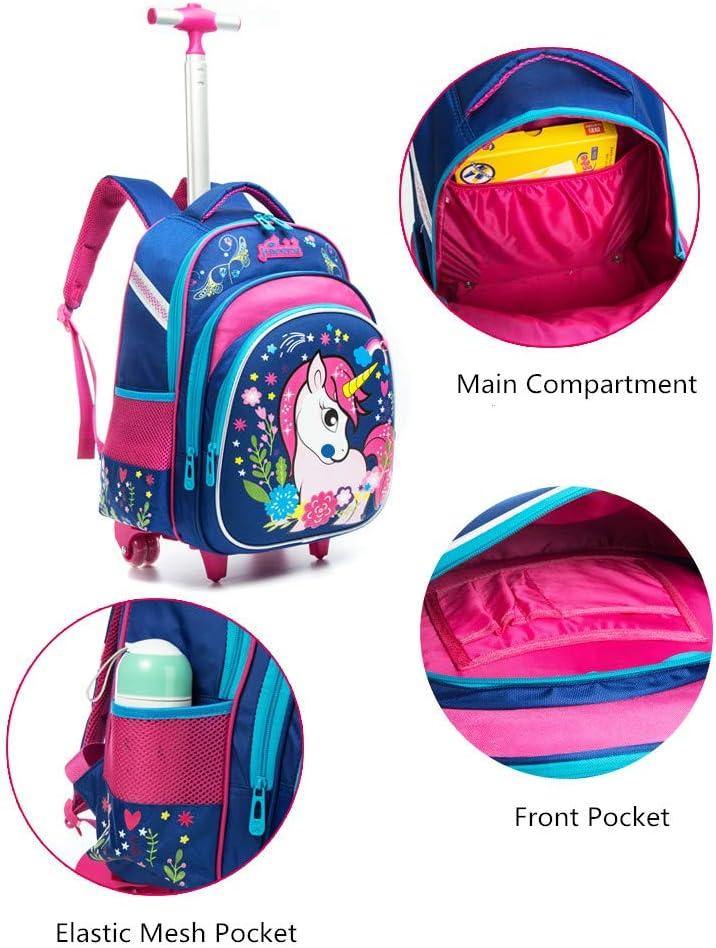 HTgroce Kids Girls Zaino Trolley Bag Ragazzi School School Bag Zaino per bambini Zaino rotante con ruote Scuola con Lunch Box Unicorno 18Nero Rosa