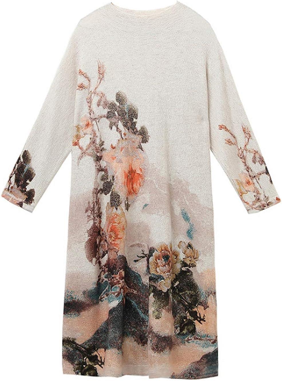 HangErFeng Dress Printed Wool Knitting Stretch Mock Neck Pullover Long Slim Sweater Skirt 1161 Paragraph