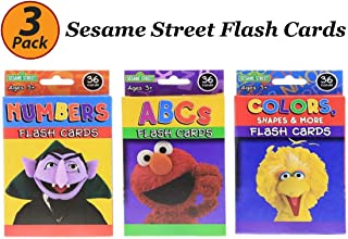 Bazic 3 Pack Sesame Street Flash Cards Early Learning, Set Includes Colors Numbers ABC Flash