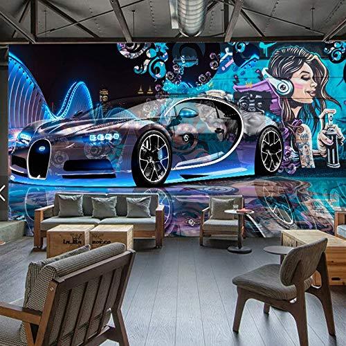 XZCWWH Fototapete 3D Street Graffiti Sport Auto Wandtuch Restaurant Kinder Jungen Schlafzimmer Hintergrund Wandverkleidung Tapete,350cm(W)×256cm(H)