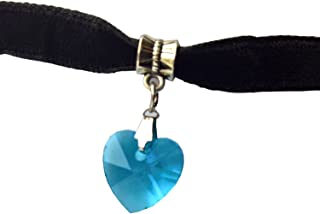 7.5 Inch Black Velvet Choker Necklace with Beautiful Heart Crystal Charm Pendant on an Oxidized Bail with 1.75